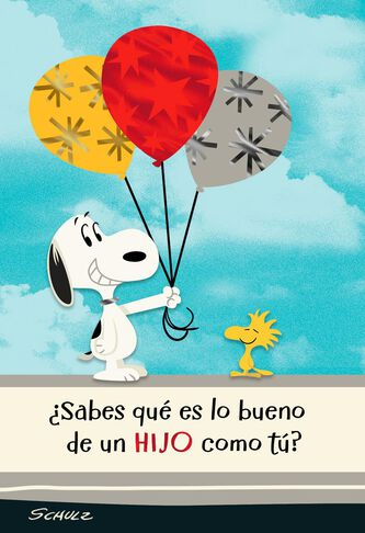 Peanuts Snoopy And Woodstock Spanish Language Birthday Card For Son