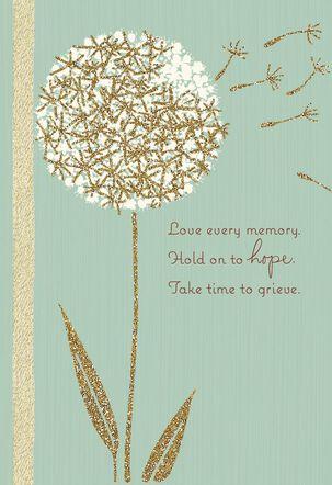 Dandelion Glitter Sympathy Card