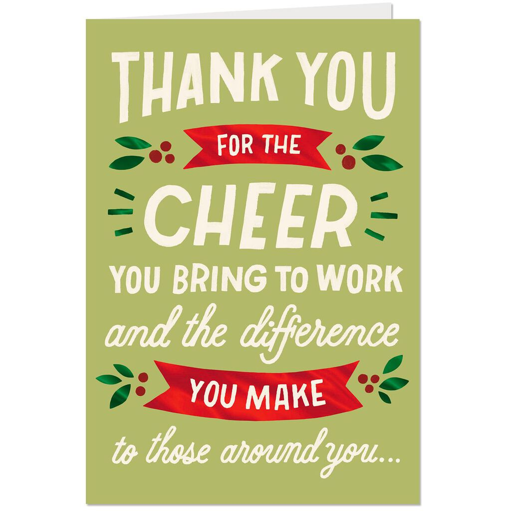 Cheerful Co-Worker Thank You Christmas Card - Greeting Cards - Hallmark