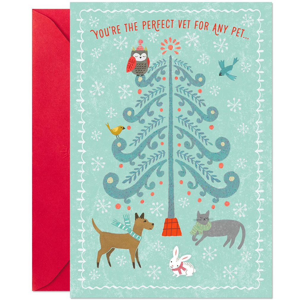 Tree With Cute Pets Thank You Christmas Card for Veterinarian ...
