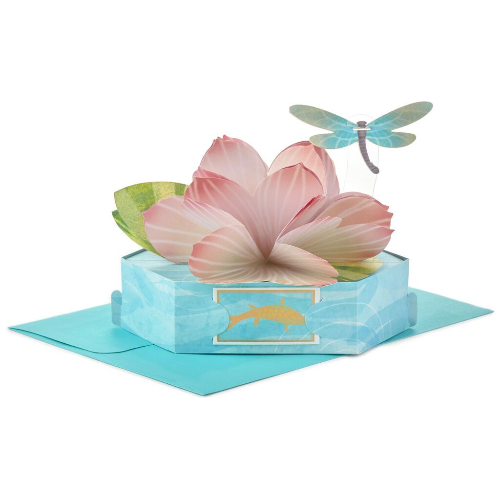 Graceful Lotus Flower Pop-Up Just Because Card - Greeting Cards ...