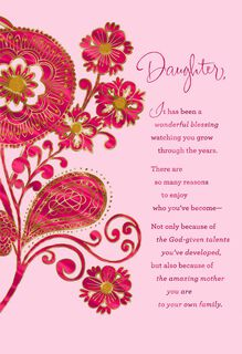Paisley Flowers Mother's Day Card for Daughter,