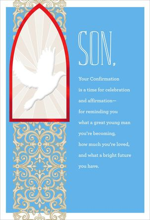 White Dove Confirmation Card for Son