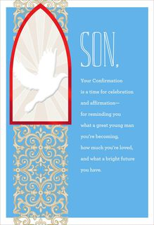 White Dove Confirmation Card for Son,