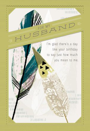 Illustrated Feathers Birthday Card for Husband