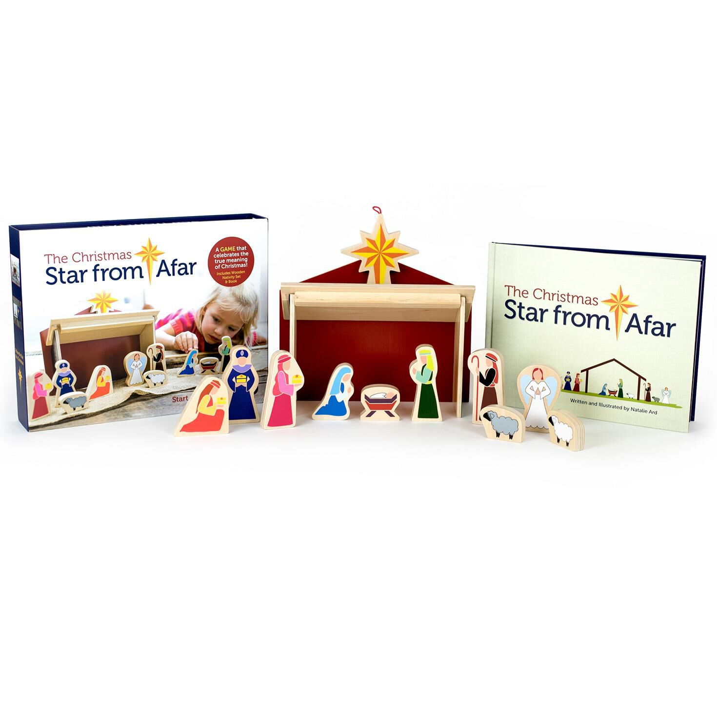 The Christmas Star From Afar® Wooden Nativity Set and Book ...