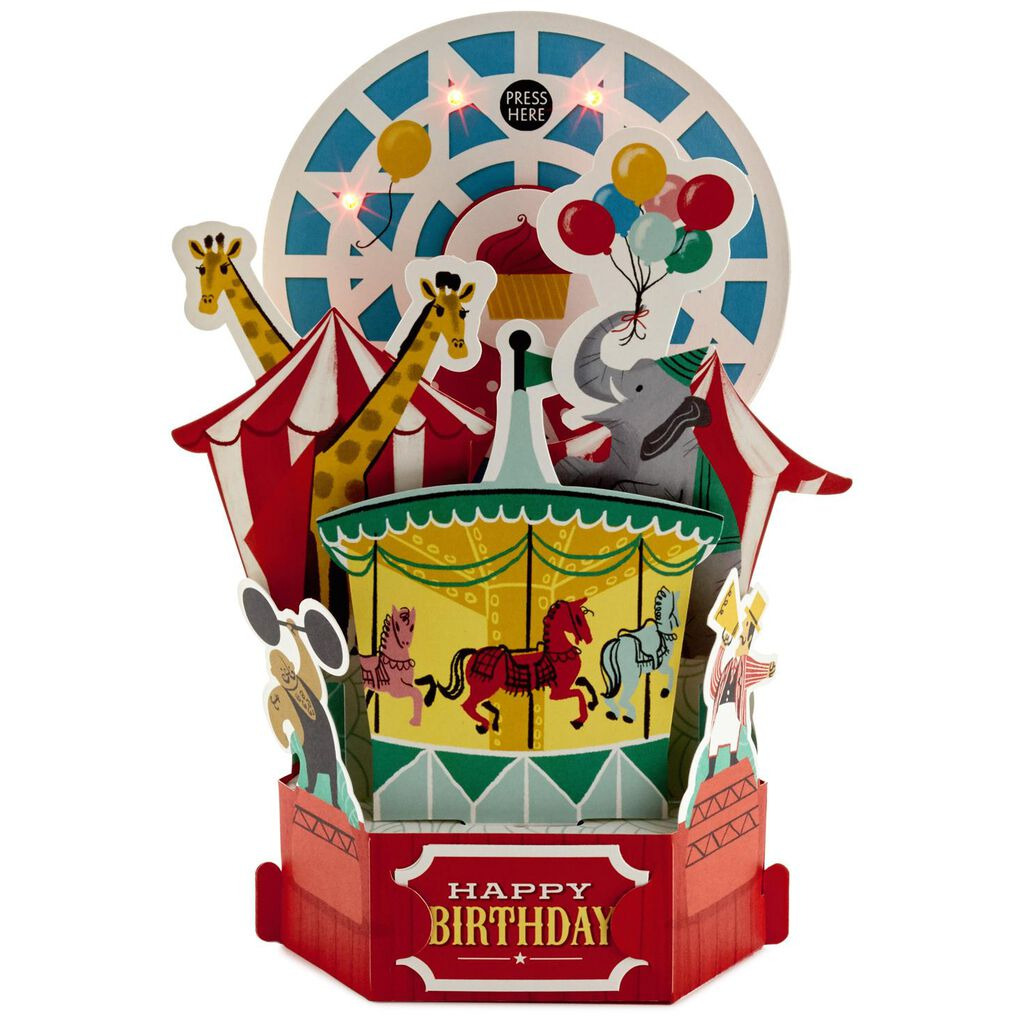 Circus Fun Pop Up Musical Birthday Card With Light Greeting Cards