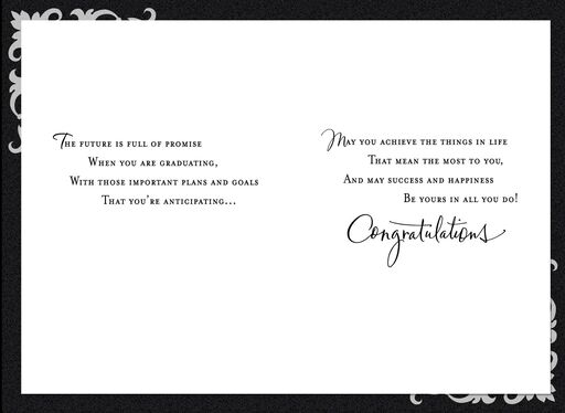 Black and White Scrollwork Graduation Card,