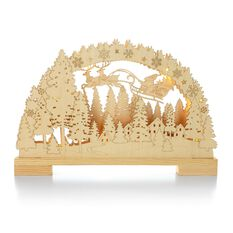 santas sleigh scene lasercut wood decoration seasonal