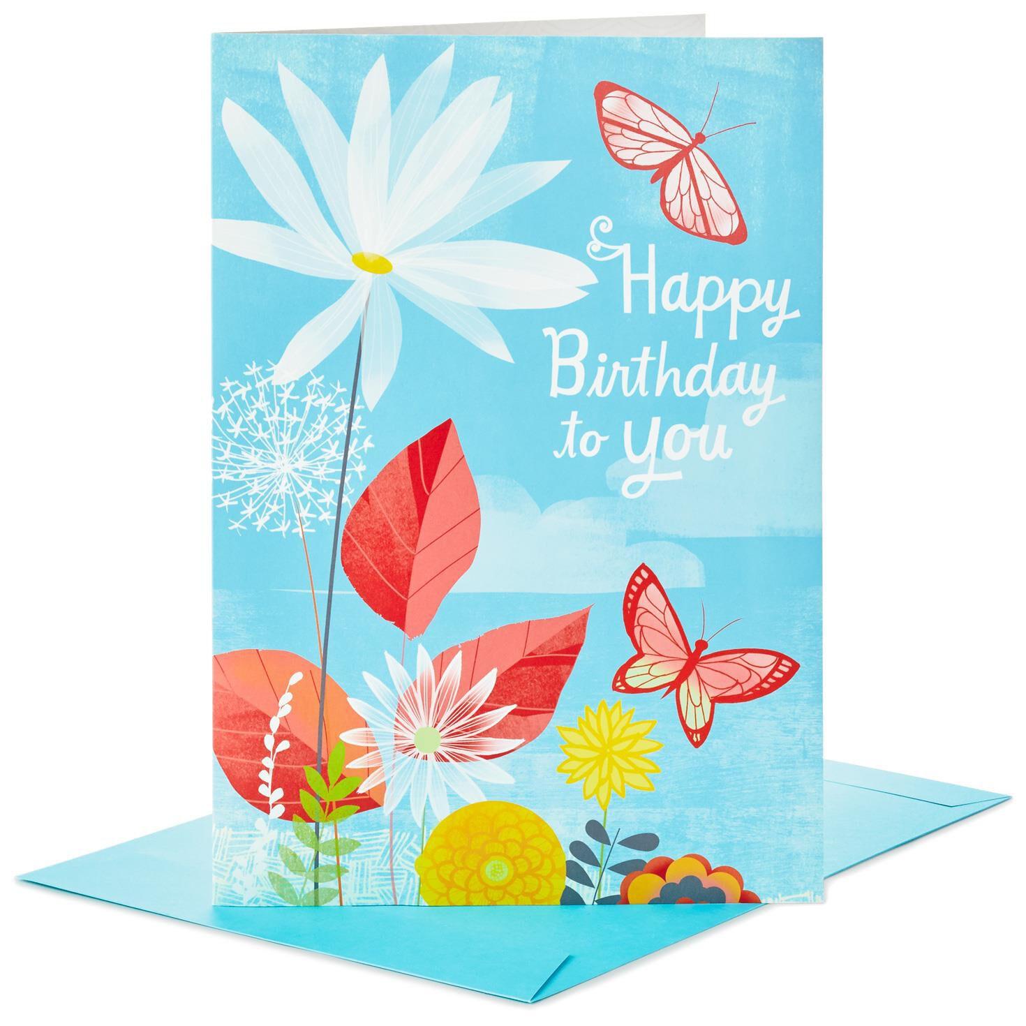 "joyful butterflies pop up jumbo birthday card 16"" greeting"