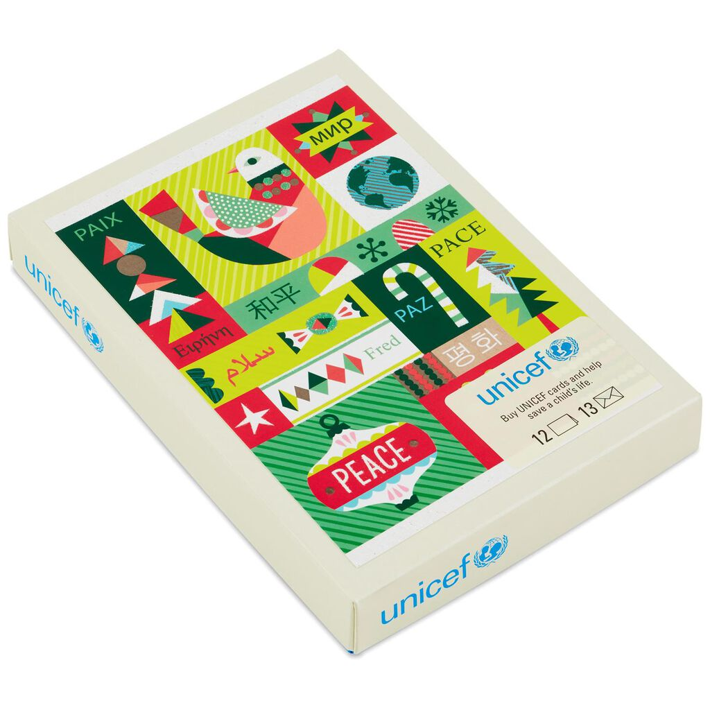 UNICEF Peace Global Patchwork Christmas Cards, Box of 12 - Boxed ...