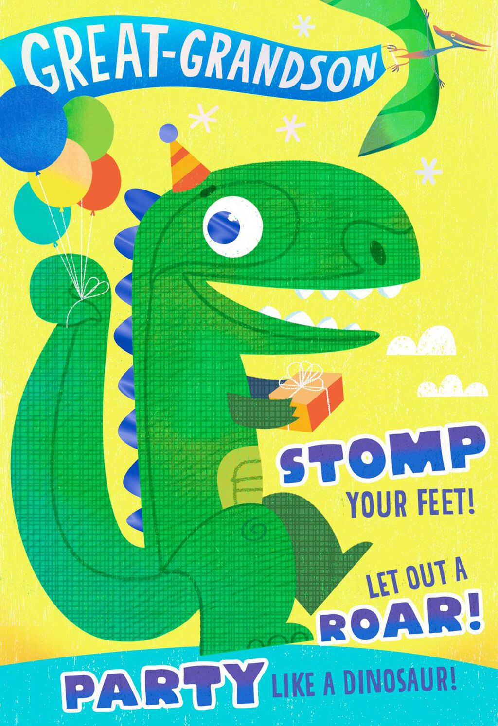 Party Like A Dinosaur Birthday Card For Great Grandson