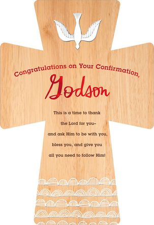 Wood Grain Cross Confirmation Card for Godson