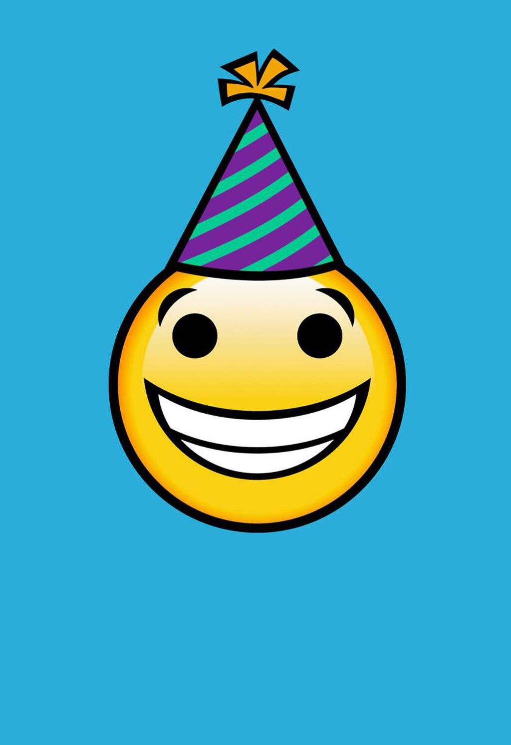smiley face in party hat on blue blank birthday card greeting