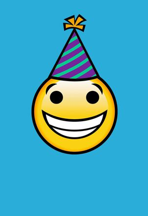 Smiley Face in Party Hat on Blue Blank Birthday Card