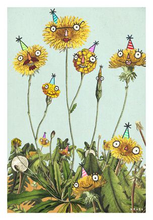 Dandelion Weeds Funny Birthday Card