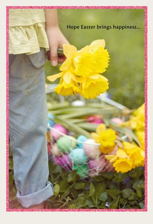 Girl With Daffodils and Egg Basket Easter Card