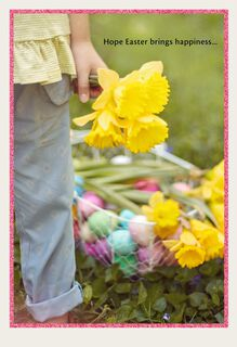 Girl With Daffodils and Egg Basket Easter Card,