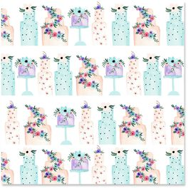 Watercolor Cakes Wrapping Paper Roll, 27 sq. ft., , large