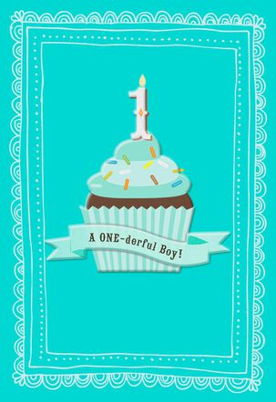 ONE-derful First Birthday Card for Boy