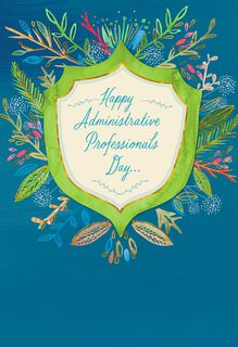 Flower Badge Admin Professionals Day Card,