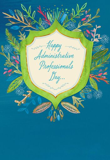 Flower Badge Admin Professionals Day Card