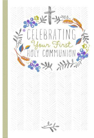 Silver Cross First Communion Card