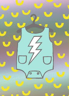 Lightning Bolt Onesie New Baby Card,