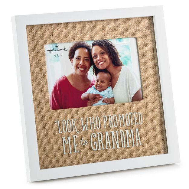 promoted to grandma wood picture frame 4x6