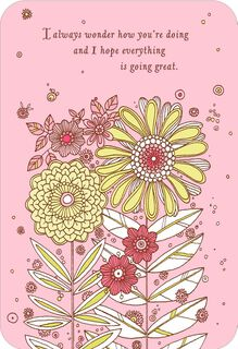 Pink Flowers Thinking of You Card,