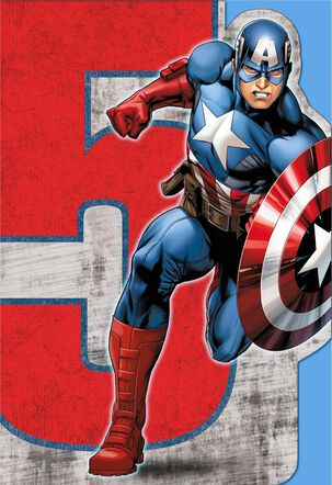 Captain America Musical 5th Birthday Card