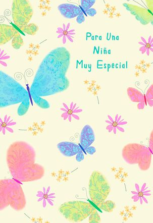 Butterflies Spanish-Language Birthday Card for Girl