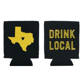 "Texas State Silhouette ""Drink Local"" Koozie, , large"