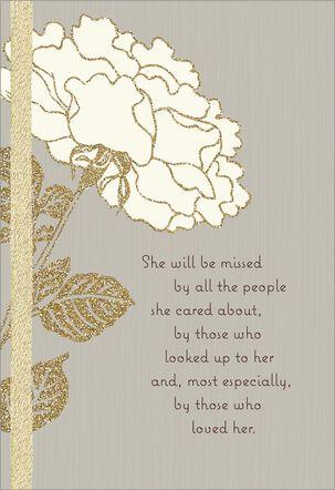 Gold Glitter Flower Sympathy Card