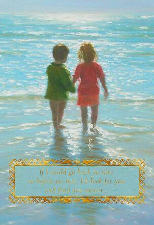 Children Holding Hands on Beach Foil Romantic Love Card