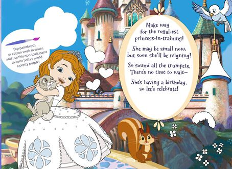 sofia the first birthday card for granddaughter with coloring, Birthday card