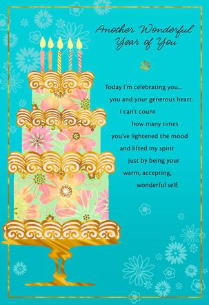 Fun, Floral Cake on Blue Birthday Card