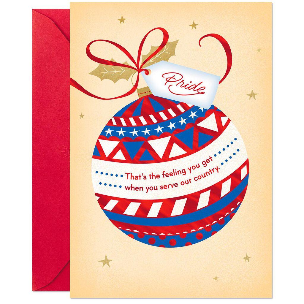 Patriotic Ornament Christmas Card for Veteran or Military Member ...