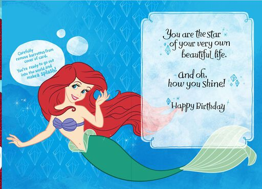 Make a Splash Barrettes Ariel Birthday Card,