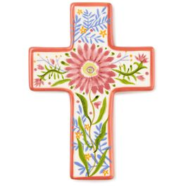 Pink Floral Ceramic Cross, , large