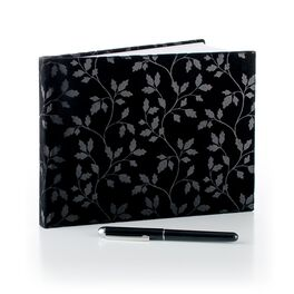 Black Suede Guest Book with Pen, , large