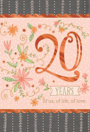 Pink Floral 20th Anniversary Card