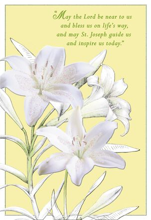 White Lilies St. Joseph's Day Prayer Card