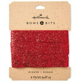Red Sparkle Ribbon, 5 yds., , large