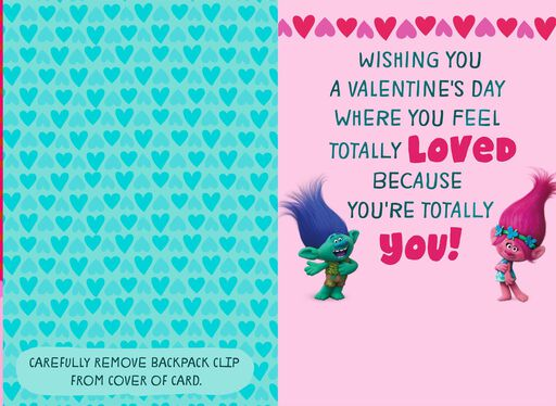 Trolls Backpack Clip Valentine's Day Card for Child,