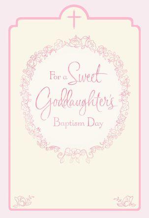 Floral Wreath Goddaughter Baptism Card for Parents