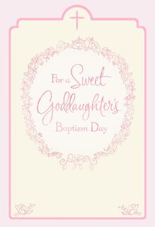 Floral Wreath Goddaughter Baptism Card for Parents,