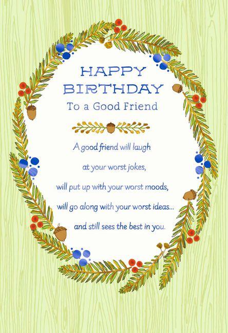 Pine Branch Wreath Birthday Card For Friend Greeting Cards Hallmark