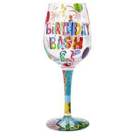 Lolita® Birthday Bash Handpainted Wine Glass, 15 oz., , large