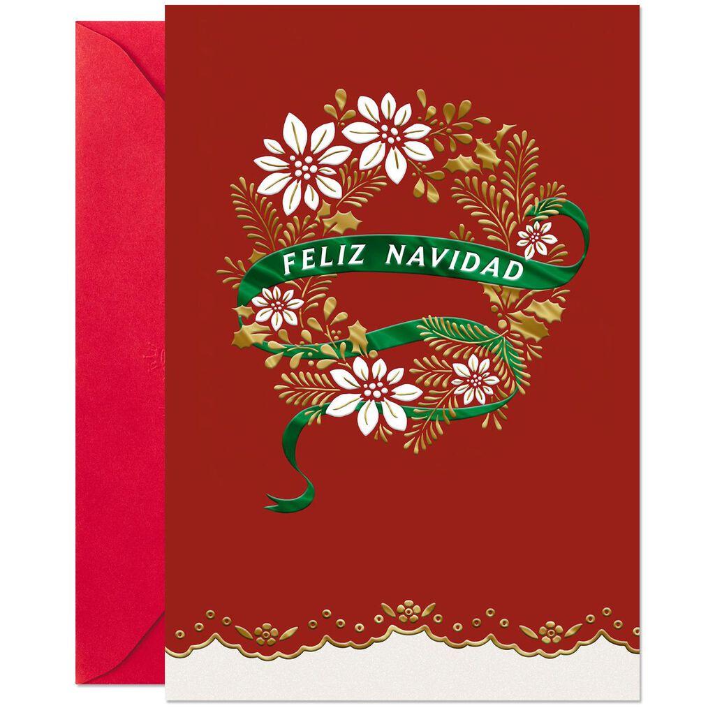 Feliz Navidad Wreath Spanish-Language Christmas Card - Greeting ...